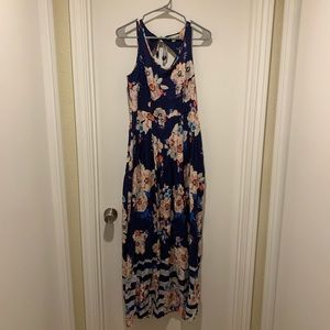 Lauren Conrad Blue and Pink Tank Maxi Dress